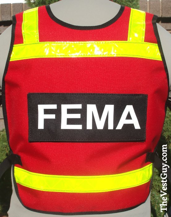red and yellow SAR FEMA pullover reflective vest