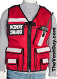 Red Incident Commander Vest with reflective