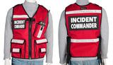 Red Incident Commander Reflective Vest with name tags