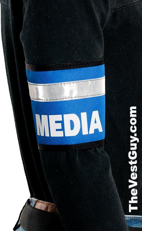 Blue MEDIA armband with reflective