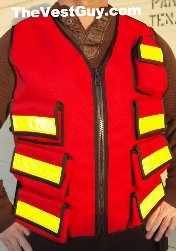 Red Medic Reflective Vest with pocket radio pouch
