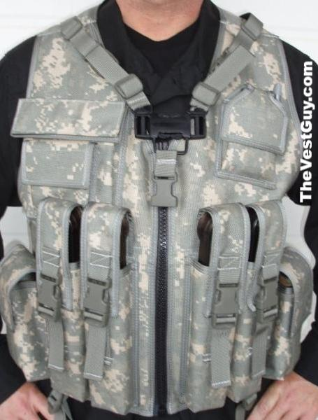 P90 Tactical Load Bearing Vest front with (4) p90 mags a utility and radio pocket in ACU