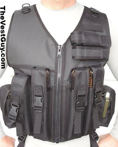 Black p90 tactical vest with pouches