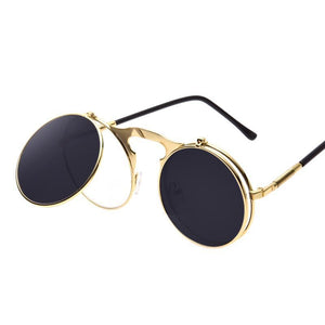 Vintage Steampunk Round Flip-Up Sunglasses