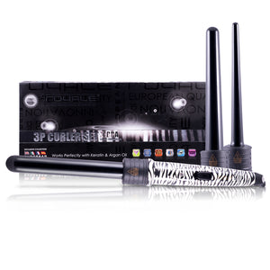 3 Piece Tourmaline Curling Wand Set - Zebra Print - RoyaleUSA