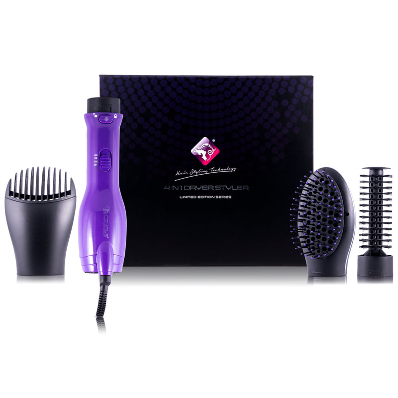 4-in-1 Interchangeable Blower Brush Set with Volumizing, Straightening, and Curling Attachments - Purple - RoyaleUSA