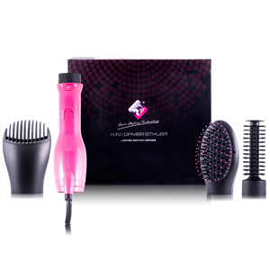 4-in-1 Interchangeable Blower Brush Set with Volumizing, Straightening, and Curling Attachments - Pink - RoyaleUSA