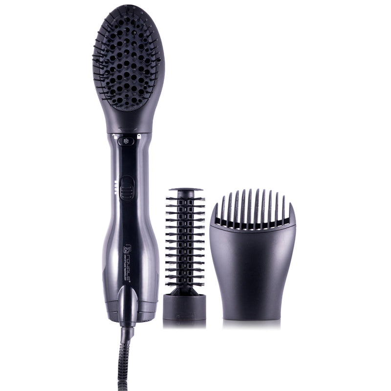 4-in-1 Interchangeable Blower Brush Set with Volumizing, Straightening, and Curling Attachments - Black - RoyaleUSA