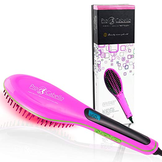 Hair Straightening Brush Heated Ceramic Straightener Comb - Pink - RoyaleUSA