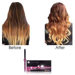 Cool Tip/Soft Touch Tourmaline Curling Wand 25MM - Pink Leopard - RoyaleUSA