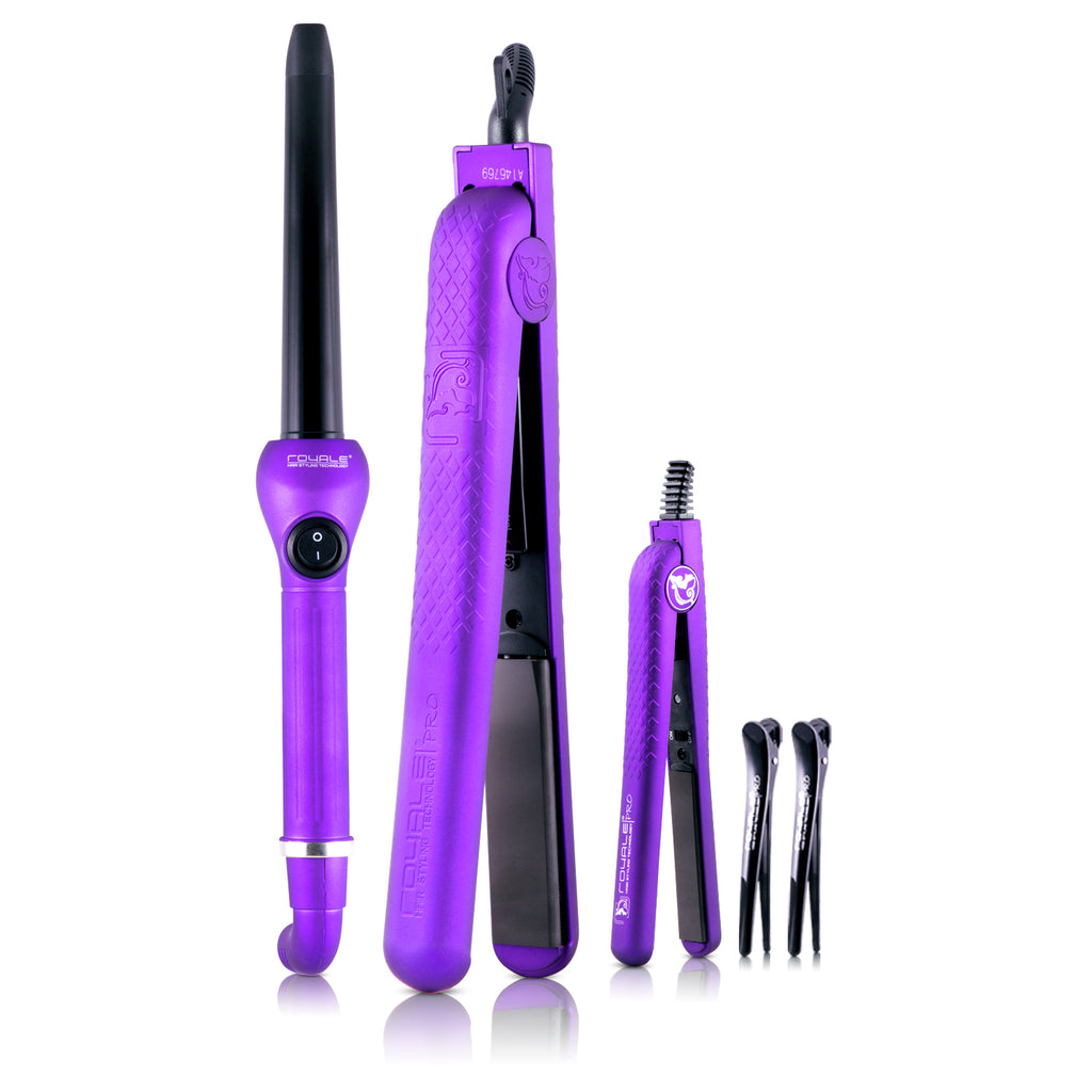 Pro Full Set 100% Ceramic Plates Straightener, Mini Straightener and Curling Wand - Purple Lilac - RoyaleUSA