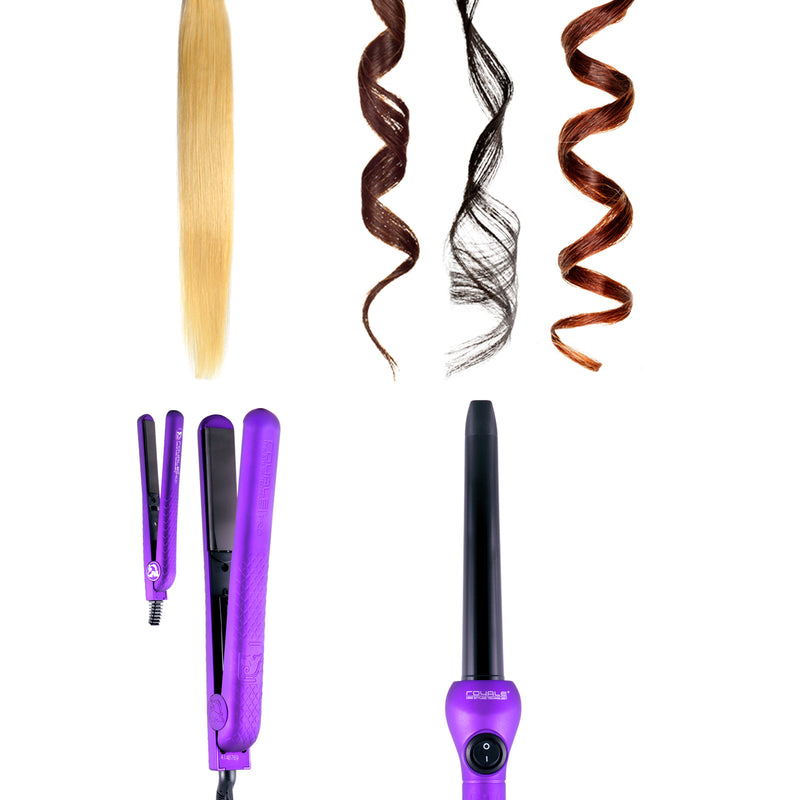 Royale Pro Full Set 100% Ceramic Plates Straightener, Mini Straightener and Curling Wand - Purple Lilac