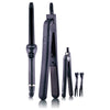 Pro Full Set 100% Ceramic Plates Straightener, Mini Straightener and Curling Wand - Black Licorice - RoyaleUSA