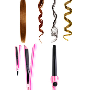 Genius Heating Element Full Set 100% Ceramic Plates Straightener, Mini Straightener and Curling Wand - Pink Stripes - RoyaleUSA