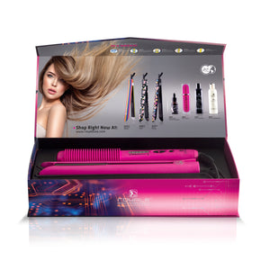 Duet Set - Platinum Heating Brush + Platinum Flat Iron - Hot Pink