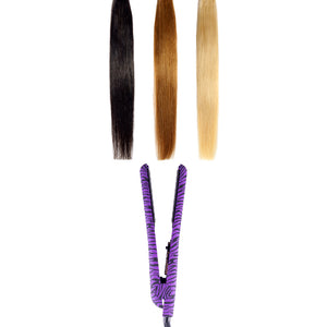 Classic Print 100% Ceramic Tourmaline Plates Soft Touch Hair Straightener - Purple Zebra - RoyaleUSA