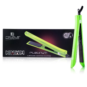Platinum Genius Heating Element Hair Straightener with 100% Ceramic Plates - Lime Green - RoyaleUSA