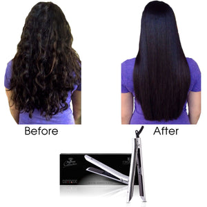 Limited Edition - Platinum Genius Heating Element Hair Straightener with 100% Ceramic Plates - Sparkling Silver - RoyaleUSA