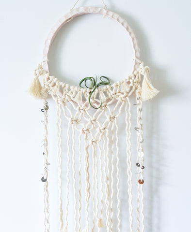 Ceramic macramé wall hanging