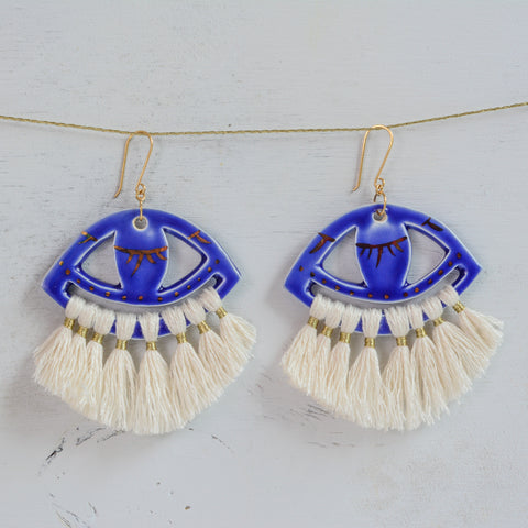 Blue Ceramic evil eye earrings
