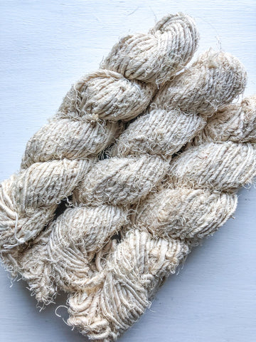 Cream Recycled silk yarn