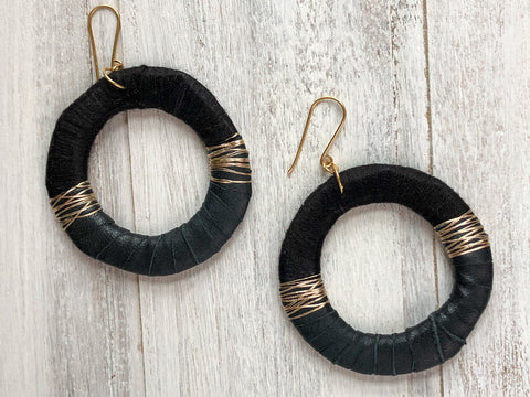 Silk and leather Hoop earrings
