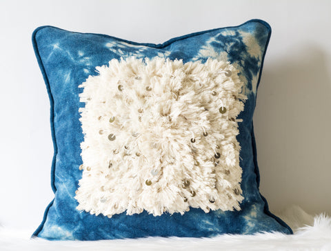 Indigo Tie dye sequined throw pillow