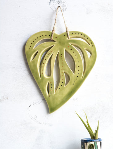 Ceramic leaf wall hanging