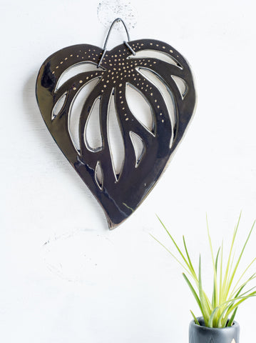Black ceramic leaf wall hanging