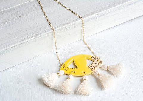 Ceramic evil eye necklace - yellow