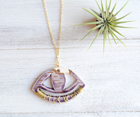 Ceramic evil eye necklace - Purple
