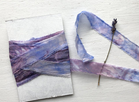 Hand dyed silk chiffon ribbon - purple haze