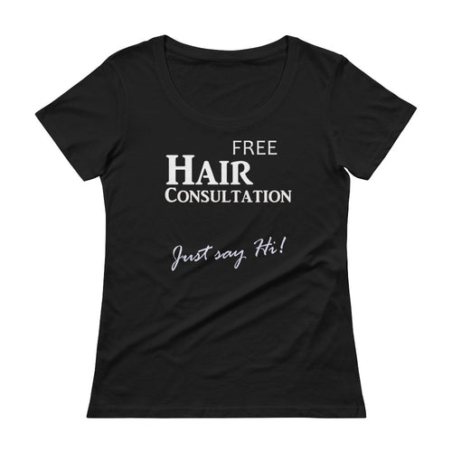 Hair Consultation Hairstylist Marketing Ladies' Scoopneck T-Shirt