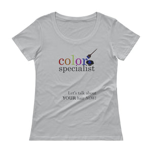 Color Specialist Hairstylist Marketing Shirt, Ladies' Scoopneck T-Shirt