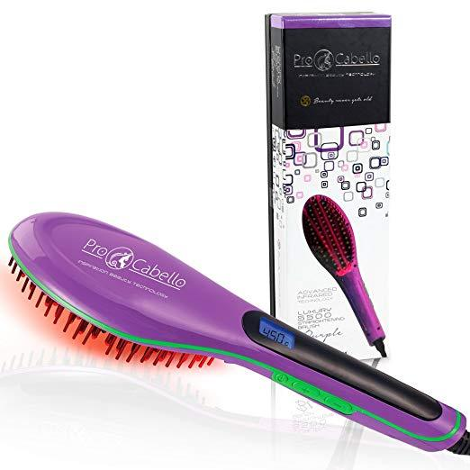 Hair Straightening Brush Heated Ceramic Straightener Comb - Purple - RoyaleUSA