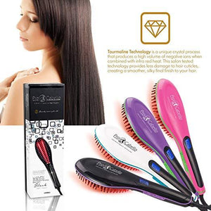 Hair Straightening Brush Heated Ceramic Straightener Comb - Black | (Factory Direct Sanitized Unboxed Product with 5 year Unconditional Warranty) - RoyaleUSA