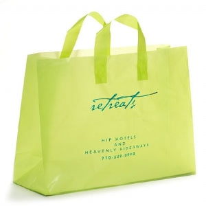 Custom Printed Hi Density Lime Green Frosty Shopping Bag 16x6X12