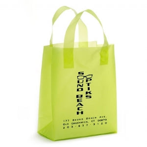 Custom Printed Hi Density Lime Green Frosty Shopping Bag 8x4