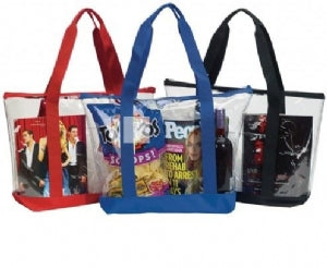 Custom Printed Clear Zipper Tote Security Bag With Pocket