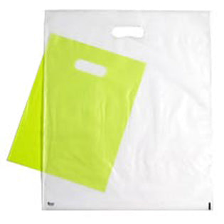 Plastic Merchandise Bags - Tinted Die Cut Handle Bags