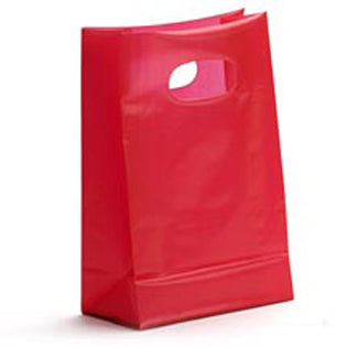 Plastic Merchandise Bags - Frosty SOS Die Cut High Density