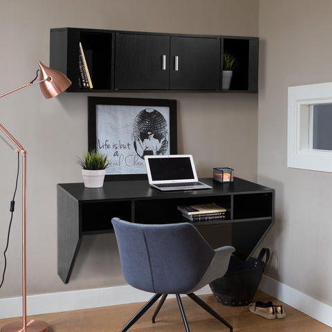 Wall Mounted Floating Storage Cabinet + Computer Table Desk