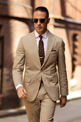 khaki two piece suit
