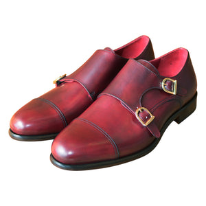 The Burgundy Double Monk Strap Custom Shoe