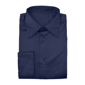 Navy Blue Stretch Cotton Custom Shirt