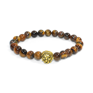 Gold Lion Brown Stone Bracelet