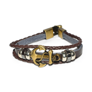 Brown Leather Nautical Bracelet