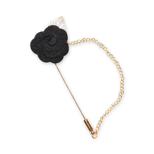 Elegant Black Rose Lapel Pin