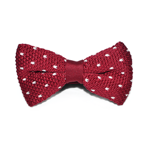 Classic Maroon Dotted Knit Bow Tie