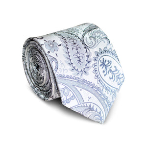 Moonlight Silver Paisley Tie